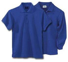 Unisex Royal Blue Pique Knit Polo Shirt