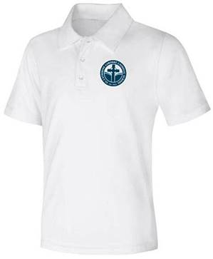 Unisex White Performance Knit Polo with SCL Logo