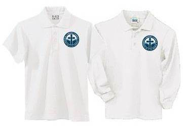 Unisex White Pique Knit Polo Shirt with SCL Logo