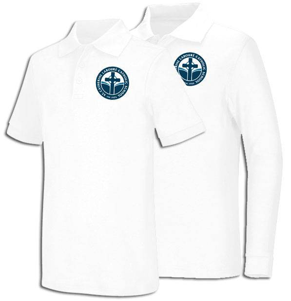 Unisex White Smooth Interlock Knit Polo Shirt with SCL Logo