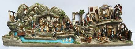 Village Scene Nativity Set - 94 Full Colored Pieces