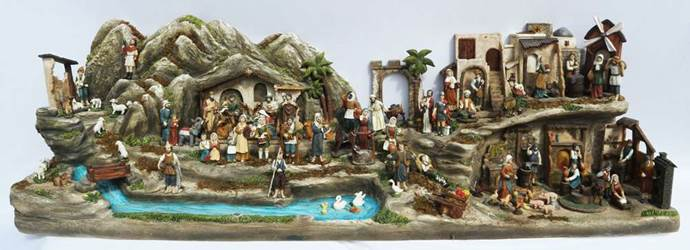 Village Scene Nativity Set - 94 Full Colored Pieces indoor nativity, color nativity, christmas gift, christmas decor, Full scene, church gift, church items,53367