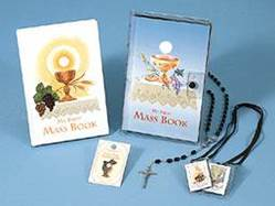 """My First Mass Book"" Gift Set first communion gift, first communion missal, first communion rosary, first communion lapel pin, first communion scapular, girl gift, boy gift,  white rosary, black rosary,"