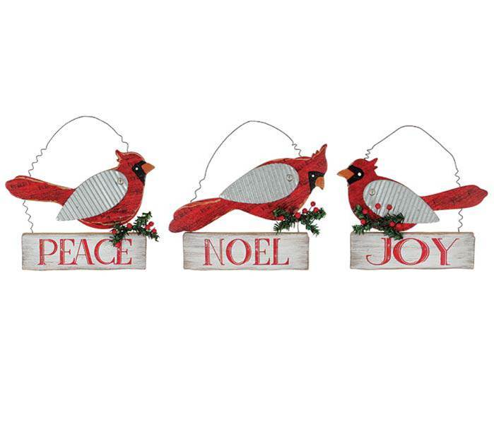 "Cardinal wall hanging assortment with Christmas greenery and message plaques. Messages include: Joy, Noel, and Peace.  Made of: hand painted wood and wire hanger.  7""H X 9""W 9"" hanging"