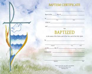 Watercolor Baptism Certificate with Envelope