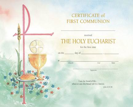 Watercolor First Communion Certificate with Envelope