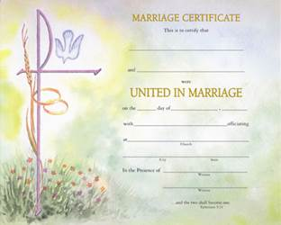 Watercolor Marriage Certificate with Envelope