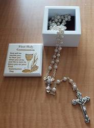 White 1st Communion Keepsake Box with Pearl Rosary