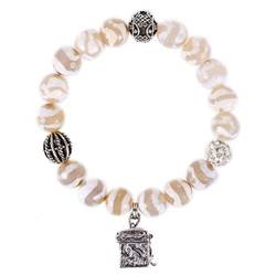 White Agate & Quartz Prayer Box Bracelet