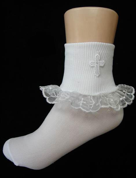 White Ankle Christening Socks With Cross