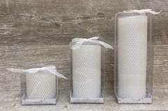 White Beaded Look Pillar Candle