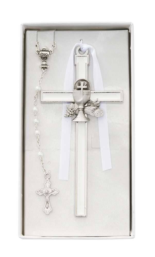 White Chalice Cross with Pearl Rosary