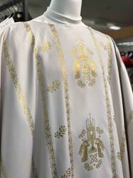 White Chasuble - Tradition Adoring Angels in Gold chasuble, church goods, textiles, church apparal,