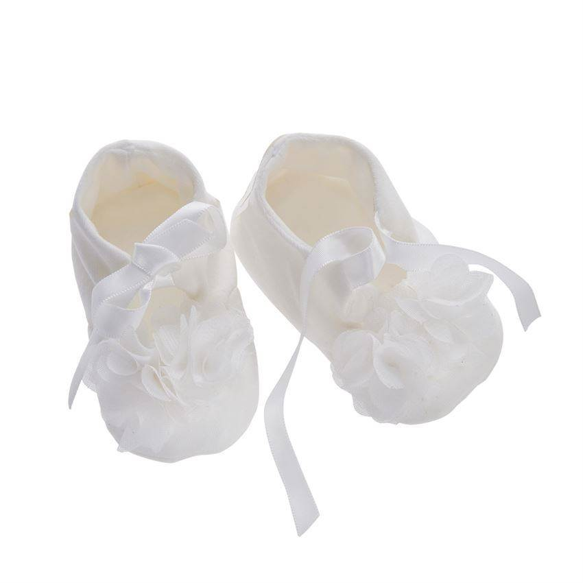 White Chiffon Flower Baby Booties, 0-6 Month