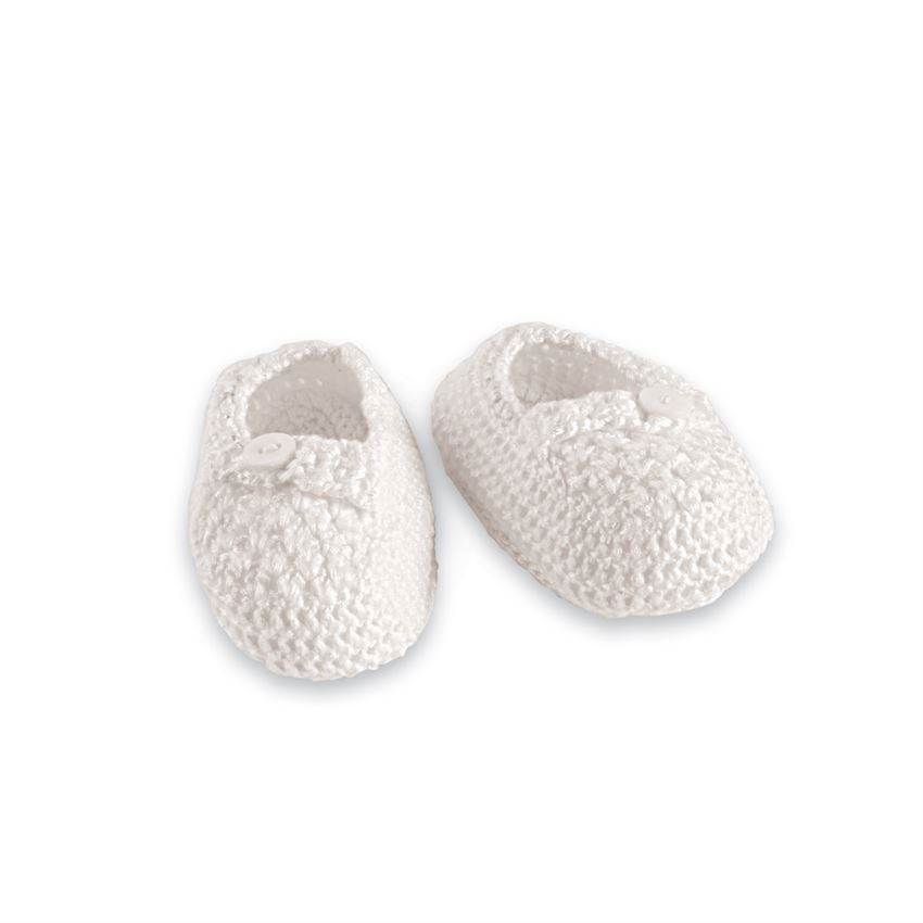 White Crochet Baby Booties, Size 0-3 Month