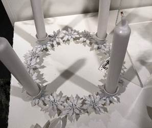 White Glittered Metal Poinsettia Advent Wreath, 10""