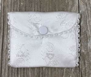 White Silk Brocade Rosary Case