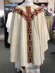 White Damask Chasuble with Rich Banding chasuble, church goods, textiles, church apparal,