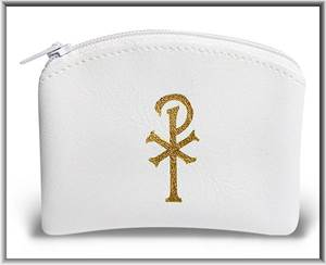 White Vinyl Rosary Pouch with zipper