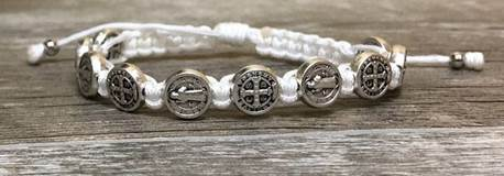 White and Silver St. Benedict Blessing Bracelet with Story Card