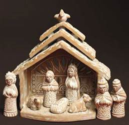 Whitewashed Terra Cotta Nativity with Stable