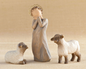 Willow Tree Little Shepherdess with Lambs nativity, willow tree set, christmas nativity, holiday gift, wedding gift, indoor nativity, home nativity, 26442, shepherdess, sheep, lamb,