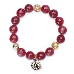 Wine Agate & Quartz Prayer Box Bracelet