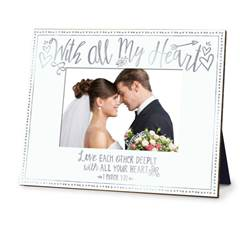 With All My Heart Wedding Photo Frame