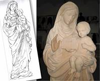 Wood Carved Our Lady of the Church Statue