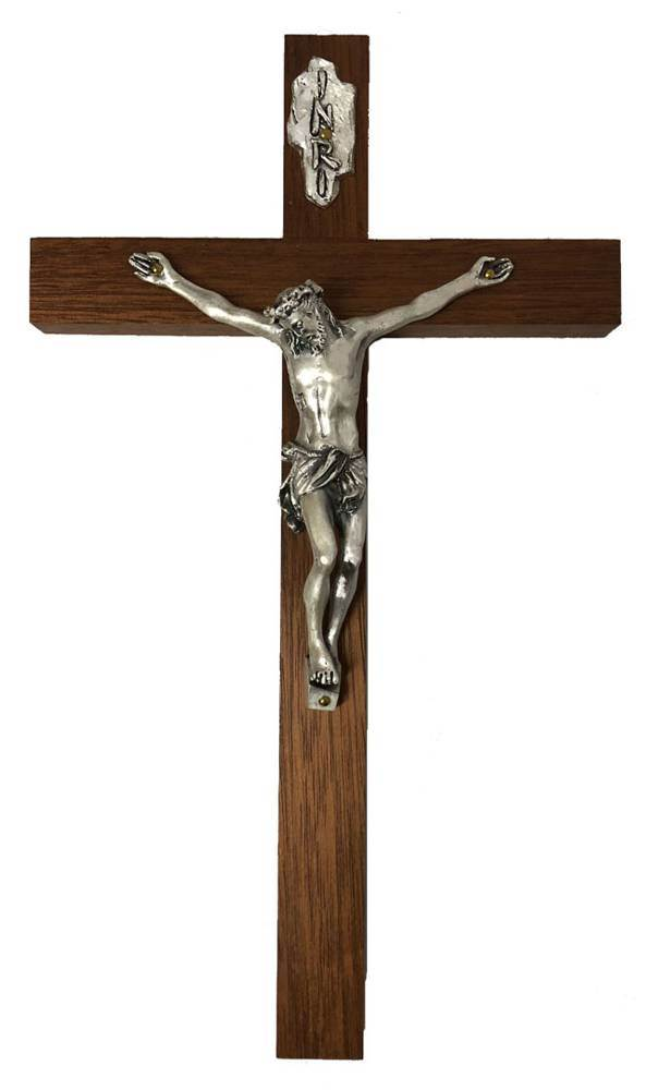 Wood Crucifix With Silver Corpus wall crucifix, wall cross, wedding gift, first communion gift, confirmation gift, sacramental gift, new home gift, church cross, school cross
