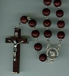 Wood Family Rosary rosary, wood rosary, brown wood, large rosary, large family rosary, italian, 01475