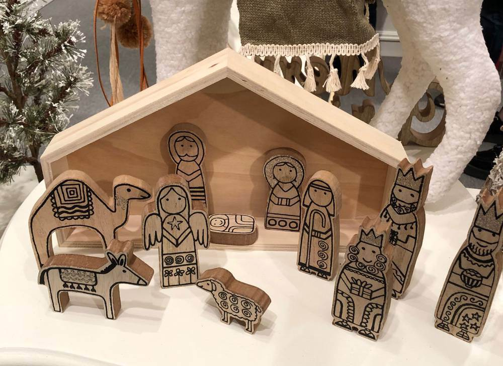 Wooden Nativity Scene with Figures & Creche