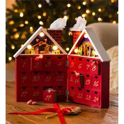 Wooden Tabletop Advent Calendar with Nativity Scene and 24 Drawers