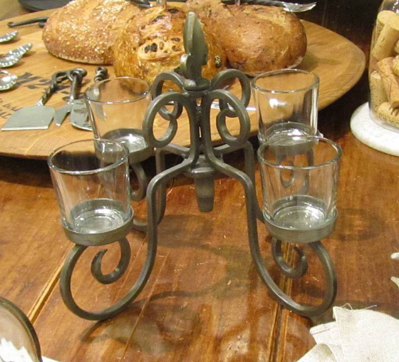 Wrought Iron Advent Candleabra with Fleur De Lis Accent wine bottle candle holder, advent wreath, advent candle holder, advent candleholder