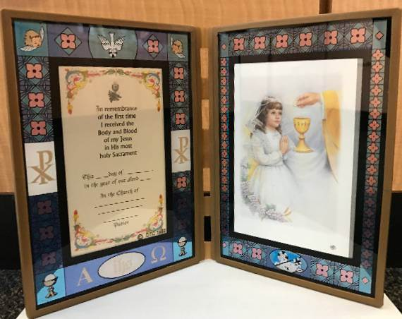 First Communion Stained Glass Frame first communion frame, girl frame, girl picture, folding frame, personalized, X4014