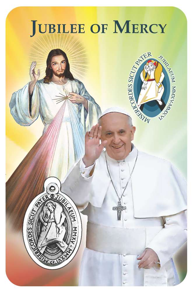 Year of Mercy Prayer Card with Official Licensed Year of Mercy Medal Inside