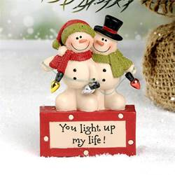 """You Light Up My Life"" Snowman Couple Figurine"