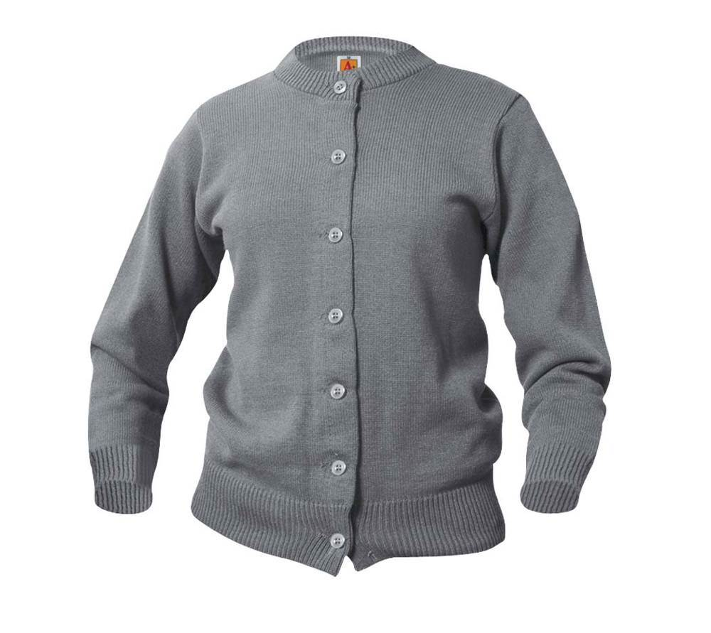 Youth Small Grey Crewneck Cardigan