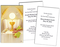 First Communion Personalized Holy Cards- Paper