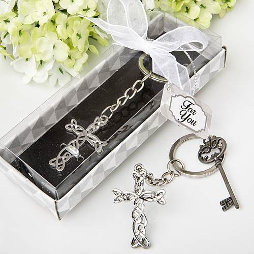 Delicate Intertwined Metal Cross Keychain cross keyring, irish cross, irish, celtic cross