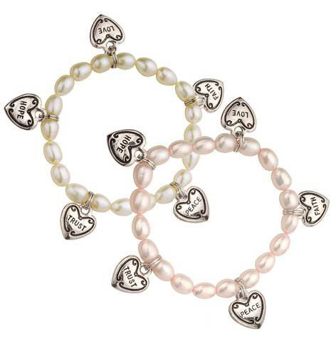 Childs Pearl Charm Bracelet
