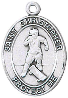 St. Christopher Sports Medal-Skateboarding silver necklace, st. christopher necklace, sports necklace, girl necklace, boy necklace, athlete gift,  first communion gift, reconciliation gift, sacramental gift, sport gifT, skatboarding gift, skateboarding medal