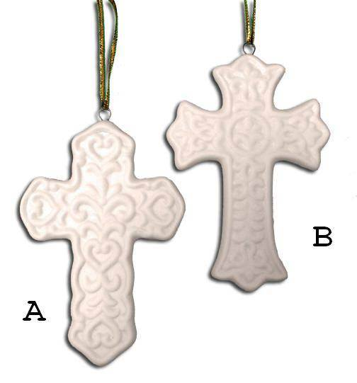 Ceramic Cross Ornament ceramic ornament, cross ornament, asst cross ornament, personalized ornament, confirmation gift, communion gift, sacramental gift, baptism gift, party favors, class gifts, wholesale religious gifts, wholesale religious ornaments,quantity discounts,