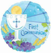 First Communion Foil Balloon Blue