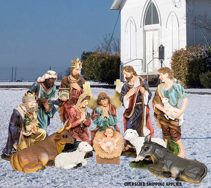 "43"" Full Color 12 Piece Nativity Figure Set  outdoor nativity, indoor nativity, color nativity, christmas gift, christmas decor, yard decor, church gift, church items, 12 piece set, 53391"