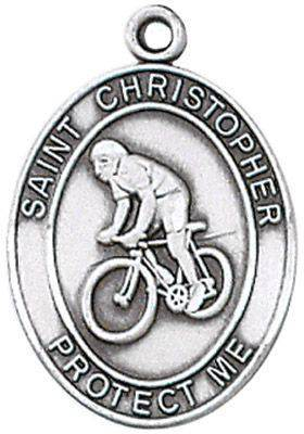 St. Christopher Sports Medal-Biking silver necklace, st. christopher necklace, sports necklace, girl necklace, boy necklace, athlete gift,  first communion gift, reconciliation gift, sacramental gift, sport gift,biking gift, biking medal
