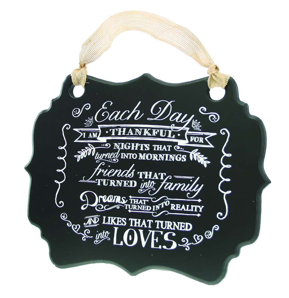 Each Day / Thankful Chalkboard Plaque