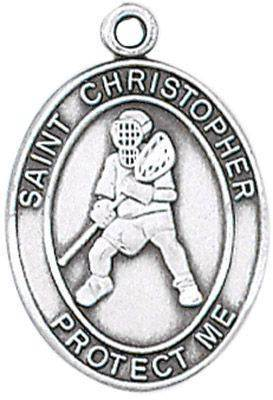 St. Christopher Sports Medal-Lacrosse silver necklace, st. christopher necklace, sports necklace, girl necklace, boy necklace, athlete gift,  first communion gift, reconciliation gift, sacramental gift, sport gift, lacrosse gift, lacrosse medal
