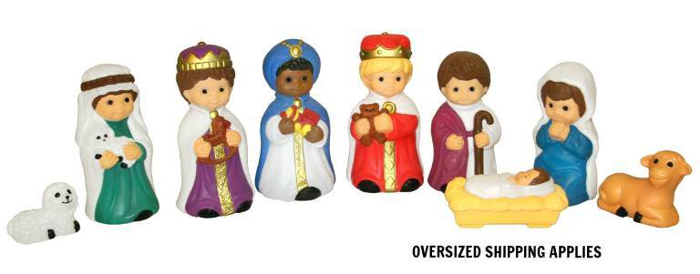 "18"" Scale Lighted 10 Piece Outdoor Childrens Nativity GF18, outdoor nativity, indoor nativity, color nativity, christmas gift, christmas decor, yard decor, church gift, church items, childrens nativity, lighted nativity, 57022"