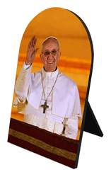 Pope Francis Arrives on Balcony Arched Desk Plaque